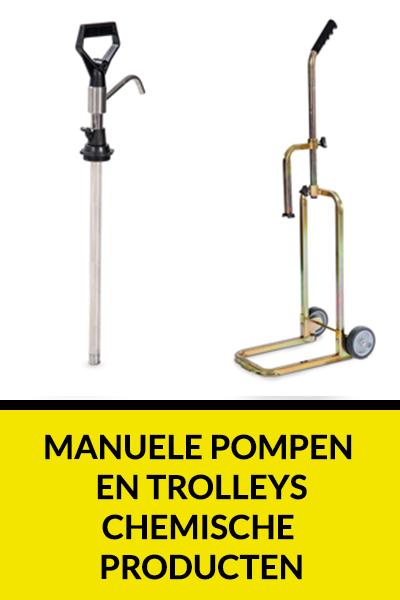 Manuele pompen en trolleys chemische producten
